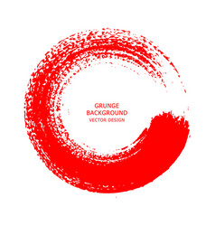 Red ink round brush stroke on white background vector