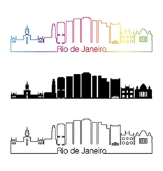 rio de janeiro v2 skyline linear style vector image