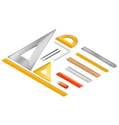 ruler icon set isometric style vector image