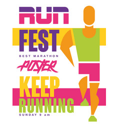 Run fest keep running colorful poster template vector