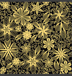 Seamless background with swirls flowers and leaves vector