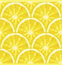Seamless pattern of lemon slice citrus vector