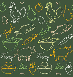 Seamless pattern with farm food symbols vector