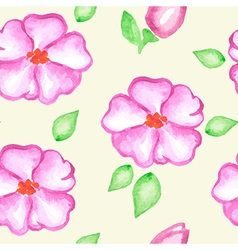 seamless pattern with pink watercolor flowers vector image