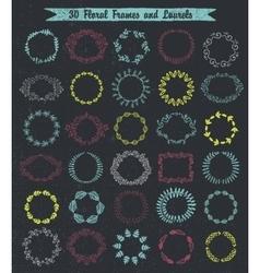 Set 30 hand drawn frames and laurels vector