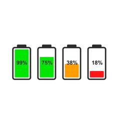 set battery level indicator icons vector image
