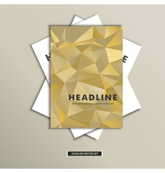 Set brochures with background triangles on cover vector image