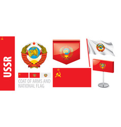 set coat arms and national flag vector image