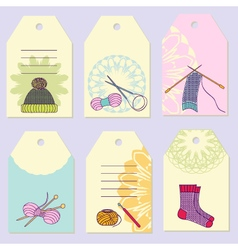 Set creative gift tags Stock set of knitting vector image