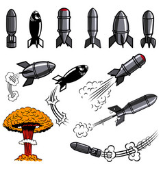 Set of comic style bomb for poster card flyer vector