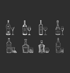 set of isolated alcohol beverages bottles sketch vector image