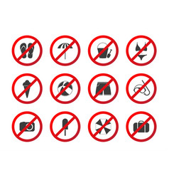 set of travel prohibition icons beach restriction vector image