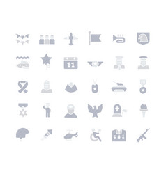 set simple icons veterans day vector image