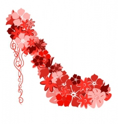 shoes from the red flowers vector image