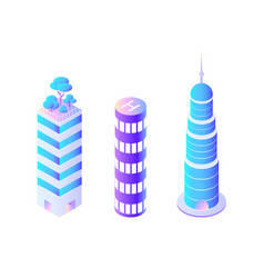 skyscrapers of different shapes business center vector image