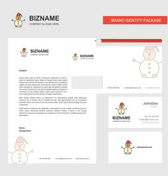 snowman business letterhead envelope and visiting vector image