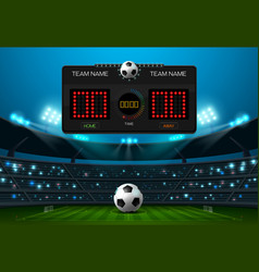 soccer football field with scoreboard and vector image