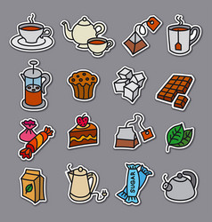 tea stickers vector image