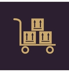 The warehouse trolley with boxes icon Delivery vector