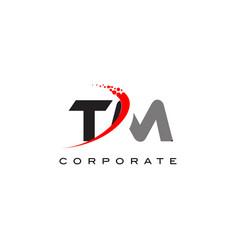 Tm modern letter logo design with swoosh vector