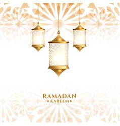 Traditional arabic hanging lantern ramadan kareem vector