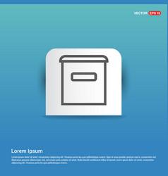 trash bin icon - blue sticker button vector image