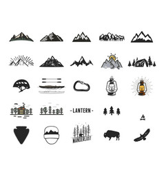 Vintage camping icons and adventure symbols vector
