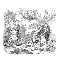 Vintage drawing biblical adam and eve vector