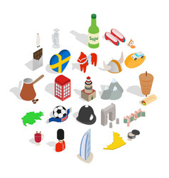 Western europe icons set isometric style vector