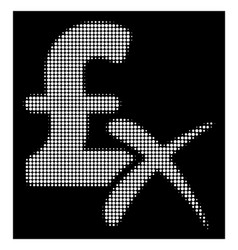 white halftone reject pound icon vector image
