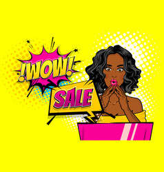 wow face woman pop art sale advertise vector image