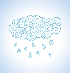 Abstract blue curl cloud with rain vector image vector image