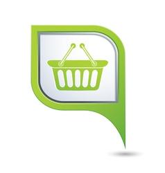 Shop basket on map pointer vector image vector image