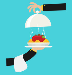 spaghetti on plate flat style vector image