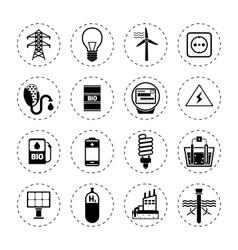 Alternative energy icons black vector