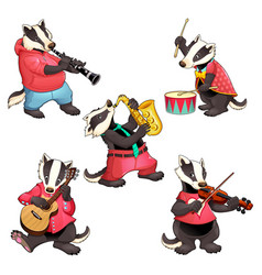 group of funny badgers are playing music vector image