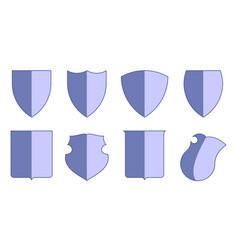 heraldic escutcheons for coat of arms set shield vector image
