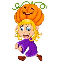 little girl with Halloween costume vector image