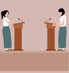 two high school girl debate on stage podium public vector image vector image