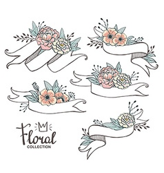 White hand drawn ribbons with peonys and roses vector image vector image