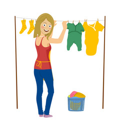 young woman hanging up laundry isolated on white vector image