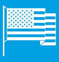 american flag icon white vector image