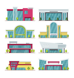 contemporary shopping mall and store buildings vector image vector image