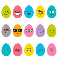 cute easter eggs with different emotions vector image