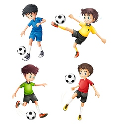 Four soccer players in different uniforms vector image
