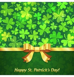 Green shining clovers Patricks Day greeting card vector image vector image