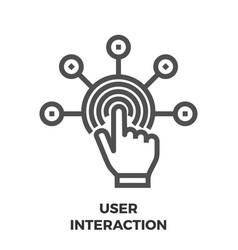 user interaction line icon vector image vector image