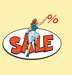Woman customer sales and discounts vector