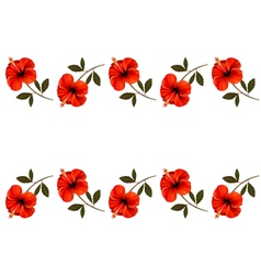 Background with a border of red flowers vector image