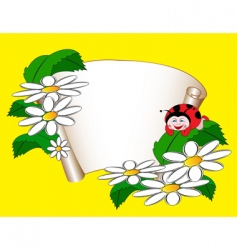 card with daisies and ladybug vector image vector image